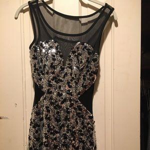 Trixxi black and silver sequin dress